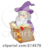 Royalty Free RF Clipart Illustration Of A Male Wizard Reading A Magic Book