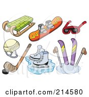 Royalty Free RF Clipart Illustration Of A Digital Collage Of Winter Sports Items by visekart