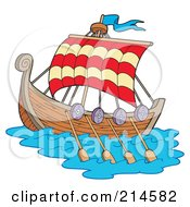 Royalty Free RF Clipart Illustration Of A Sailing Viking Ship