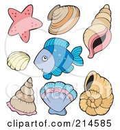 Royalty Free RF Clipart Illustration Of A Digital Collage Of Fish And Shells by visekart