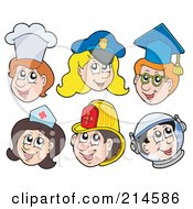 Royalty Free RF Clipart Illustration Of A Digital Collage Of Chef Police Graduate Nurse Firefighter And Astronaut Faces by visekart
