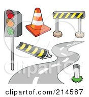 Royalty Free RF Clipart Illustration Of A Digital Collage Of Road Items by visekart