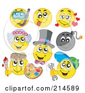 Royalty Free RF Clipart Illustration Of A Digital Collage Of Yellow Emoticons 5