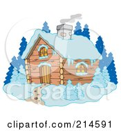 Royalty Free RF Clipart Illustration Of Smoke Rising From A Winter Cabin