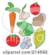 Royalty Free RF Clipart Illustration Of A Digital Collage Of Vegetables by visekart