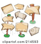 Royalty Free RF Clipart Illustration Of A Digital Collage Of Blank Square And Arrow Wooden Signs