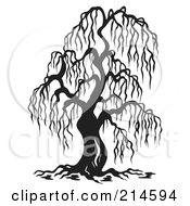 Royalty Free RF Clipart Illustration Of A Black And White Bare Willow Tree Design
