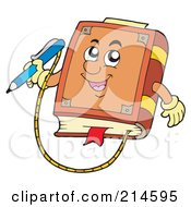 Royalty Free RF Clipart Illustration Of A Book Character With An Attached Pencil