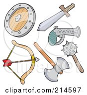 Royalty Free RF Clipart Illustration Of A Digital Collage Of Weapons by visekart