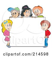 Royalty Free RF Clipart Illustration Of A Group Of School Children Around A Blank White Sign