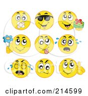Digital Collage Of Yellow Emoticons - 2