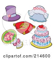 Royalty Free RF Clipart Illustration Of A Digital Collage Of Wedding Stuff by visekart