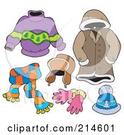 Royalty Free RF Clipart Illustration Of A Digital Collage Of Winter Apparel 1 by visekart