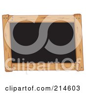 Royalty Free RF Clipart Illustration Of A Wooden Frame Around A Black Board