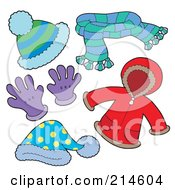 Royalty Free RF Clipart Illustration Of A Digital Collage Of Winter Apparel 2 by visekart