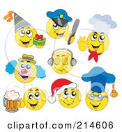 Royalty Free RF Clipart Illustration Of A Digital Collage Of Yellow Emoticons 4 by visekart