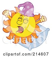 Royalty Free RF Clipart Illustration Of A Summer Sun Yawning On A Pillow