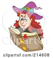 Royalty Free RF Clipart Illustration Of A Halloween Witch Looking Up A Spell