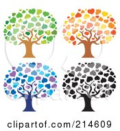 Royalty Free RF Clipart Illustration Of A Digital Collage Of Four Heart Trees