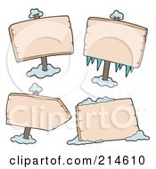 Royalty Free RF Clipart Illustration Of A Digital Collage Of Blank Wooden Signs With Ice