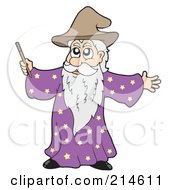 Royalty Free RF Clipart Illustration Of A Male Wizard Using His Wand by visekart