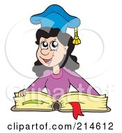 Royalty Free RF Clipart Illustration Of A Smart School Girl Wearing A Graduate Cap And Reading A Book by visekart