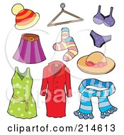 Royalty Free RF Clipart Illustration Of A Digital Collage Of Ladies Apparel by visekart