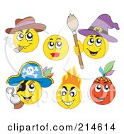 Royalty Free RF Clipart Illustration Of A Digital Collage Of Yellow Emoticons 3 by visekart