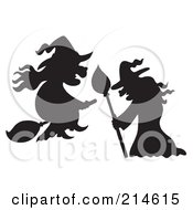 Royalty Free RF Clipart Illustration Of A Digital Collage Of Two Witch Silhouettes