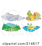 Royalty Free RF Clipart Illustration Of A Digital Collage Of Landscapes by visekart