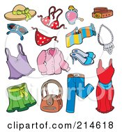 Royalty Free RF Clipart Illustration Of A Digital Collage Of Ladies Clothes by visekart