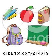 Royalty Free RF Clipart Illustration Of A Digital Collage Of School Stuff 1 by visekart