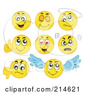 Royalty Free RF Clipart Illustration Of A Digital Collage Of Yellow Emoticons 1 by visekart