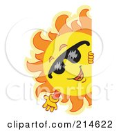 Royalty Free RF Clipart Illustration Of A Summer Sun And Blank Sign