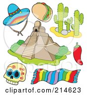Royalty Free RF Clipart Illustration Of A Digital Collage Of Mexican Items by visekart