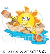 Royalty Free RF Clipart Illustration Of A Summer Sun Rowing A Boat