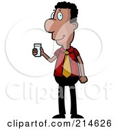 Royalty Free RF Clipart Illustration Of A Black Businessman Holding A Cup Of Water by Cory Thoman