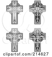 Digital Collage Of Four Black And White Celtic Crosses