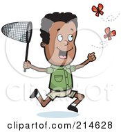 Royalty Free RF Clipart Illustration Of A Black Boy Chasing Two Butterflies With A Net by Cory Thoman