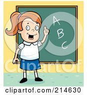 Royalty Free RF Clipart Illustration Of A Smart School Girl With ABCs On A Chalk Board by Cory Thoman