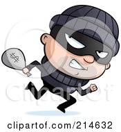 Royalty Free RF Clipart Illustration Of A Running Burglar Looking Back And Carrying A Sack Of Cash by Cory Thoman