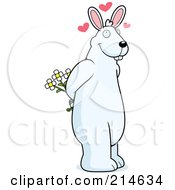 Big White Rabbit Standing On His Hind Legs And Holding Flowers