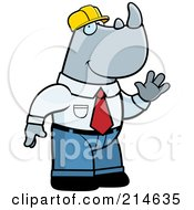 Royalty Free RF Clipart Illustration Of A Big Builder Rhino Waving by Cory Thoman