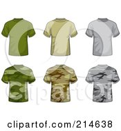 Royalty Free RF Clipart Illustration Of A Digital Collage Of Six Solid And Camouflage T Shirts