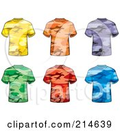 Royalty Free RF Clipart Illustration Of A Digital Collage Of Six Colorful Camouflage T Shirts
