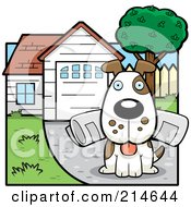 Royalty Free RF Clipart Illustration Of A Dog Sitting In A Driveway With A Newspaper In His Mouth