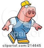 Royalty Free RF Clipart Illustration Of A Big Pink Builder Pig Walking