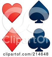Royalty Free RF Clipart Illustration Of A Digital Collage Of Shiny Red And Blue Playing Card Suits by Cory Thoman
