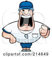 Royalty Free RF Clipart Illustration Of A Tough Coach Man Pointing And Yelling by Cory Thoman #COLLC214649-0121