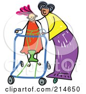 Royalty Free RF Clipart Illustration Of A Childs Sketch Of A Mother Helping Her Disabled Daughter by Prawny